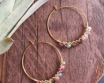 Wire Wrapped Watermelon Tourmaline Rondelle Gemstone and Gold Hoop Earrings