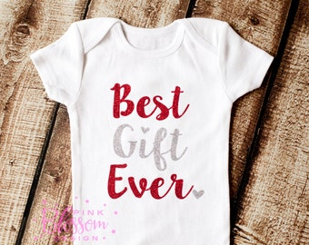 Christmas Onesie, Christmas Shirt, Baby's 1st Christmas, Best Gift Ever, Girls Christmas Outfit, Girls Holiday Onesie, Christmas outfit