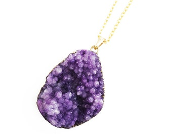 Purple Druzy Pendant Necklace, Gold Druzy Necklace, Raw Crystal Necklace, Gold Necklace, Long Necklace, Best Friend Gift for Girls
