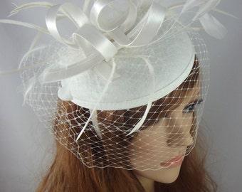 Ivory Cream Felt Hat Fascinator With Satin Loop & Birdcage Veil - Wedding Races