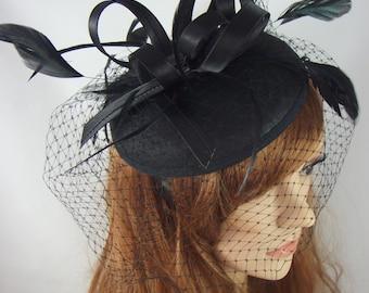 Black Felt Hat Fascinator With Satin Loop & Birdcage Veil - Wedding Races Funeral