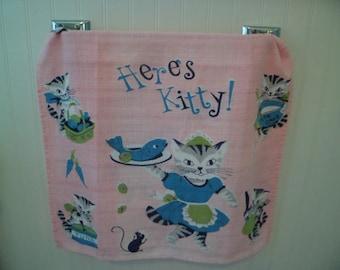 """Vintage Mid Century """"Here's Kitty!"""" Kitchen Tea Dish Towel Table Runner~Kitten Waitress Serving Fish!"""