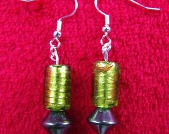 Short Handmade Green Glass Bead Earrings