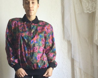 80s 90s Floral Collared Blouse // Vintage Polo Pink Magenta Long Sleeve Shirt // Size: M/L