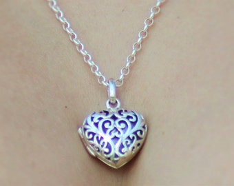 Sterling Silver Heart-shaped Locket necklace