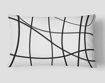 Scribble Lumbar Pillow, Black White Cushion, 14x20 Cushion Cover, Lines Long Cushion, Modern Lumbar Cushion, Cushion and Insert