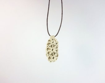 """River Stone Pendant - """"Frozen Flowers"""" - White crochet lace & stone pendant with brown adjustable cord"""