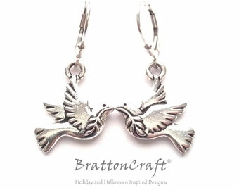 Silver Peace Dove Earrings - Peace Dove Earrings - Dove Earrings - Dove Jewelry - Peace Necklace - Bird Necklace - Epsteam