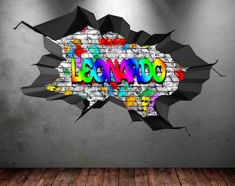 Graffiti 3d art etsy for Graffiti jugendzimmer