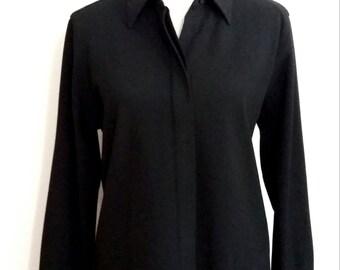 Liz Claiborne top, M, LizSport top, black blouse, Liz Claiborne blouse, designer black blouse, black top, classic blouse
