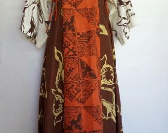 Fiji caftan, XS, S, hand painted caftan, tribal caftan, cotton caftan, brown caftan, exotic caftan, Hawaii caftan, African caftan