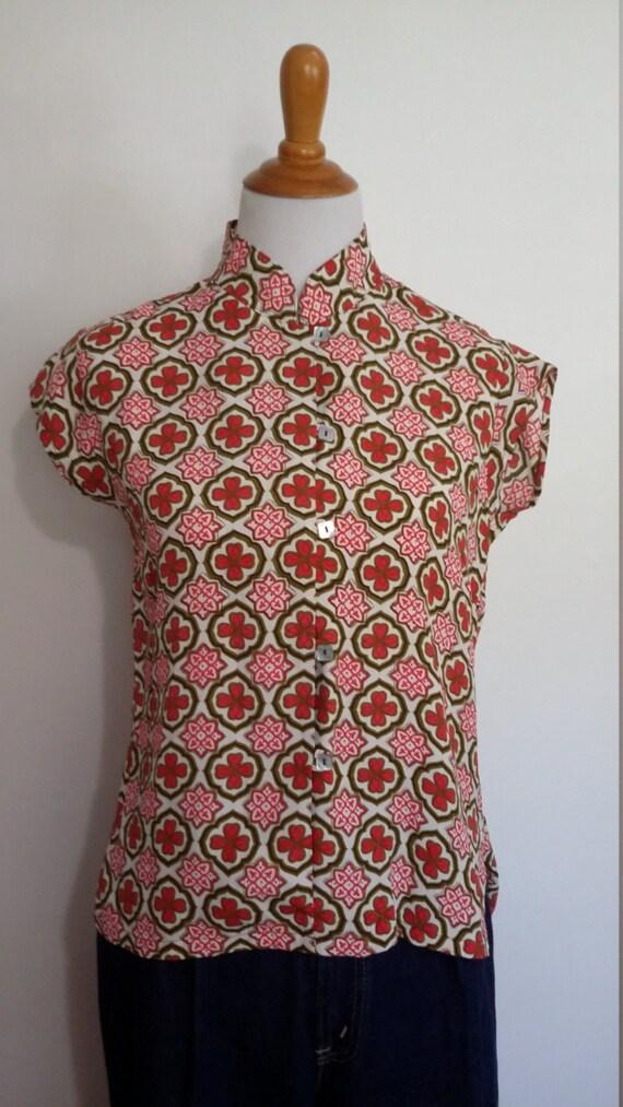 Mandarin top, M, Asian top, pink top, mod print top, silk top, cheongsam top, rayon top, Chinese top