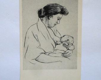 Vintage postcard Heinrich Zille - Mother with baby. Postcard - 1959, Izogiz