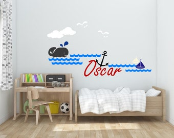 Nursery name wall decals Nautical wall decal Boy's name wall sticker Whale and name wall sticker Anchor name wall decal