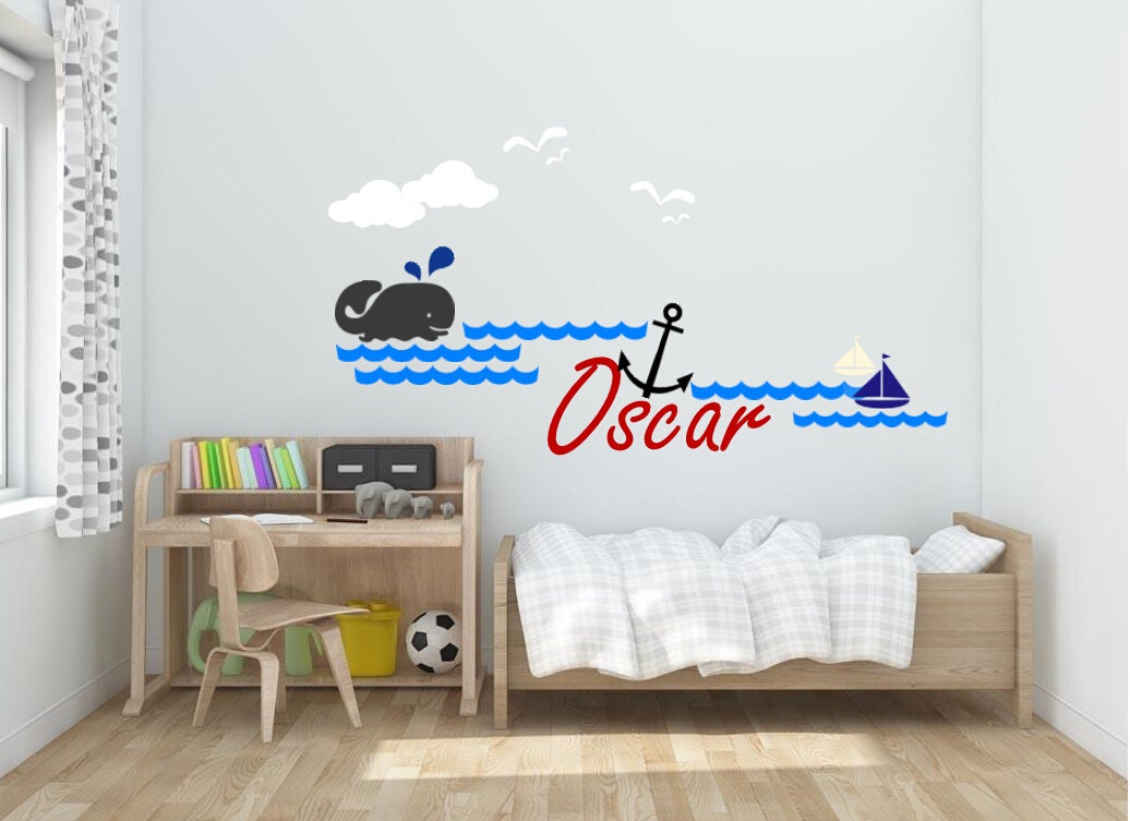 nursery name wall decals nautical wall decal boy 39 s name. Black Bedroom Furniture Sets. Home Design Ideas