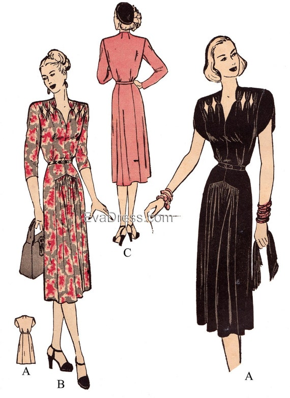 1940s Sewing Patterns – Dresses, Overalls, Lingerie etc 1947 Dress with Cut-Outs Pattern $22.00 AT vintagedancer.com