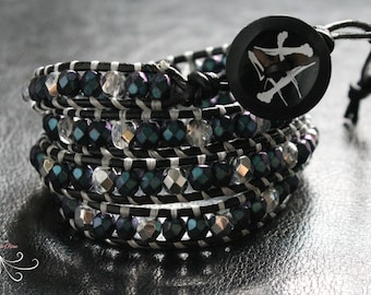 wrap beaded bracelet, leather wrap bracelet, beaded wrap bracelet, leather bracelets women, beaded jewelry, boho jewelry, bohemian jewelry