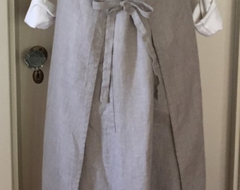 Linen Wrap Dress, Apron Dress, Japanese Style, Smock, Pinafore, Tunic, One Size for S/M/L