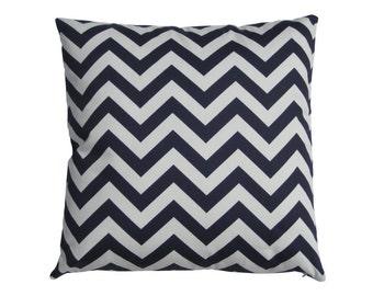 Zipper Closure Chevron Zig Zag Navy Blue White Pillow Cover Decorative Throw Pillow 12x16,16x16, 18x18, 20x20