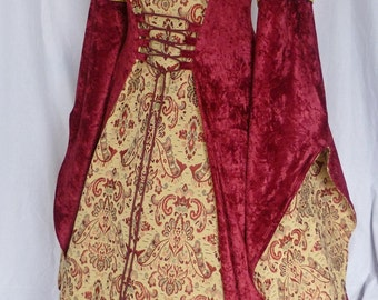 Red Medieval hooded dress pagan gown goth costume Fantasy dress Handfasting  Renaissance wedding custom made to any size