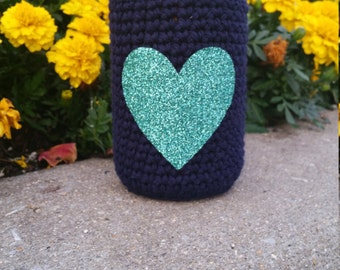 Navy Blue Can Cozy with Mint Glitter Heart