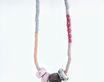 SALE - Polymer clay bead and wrapped rope necklace