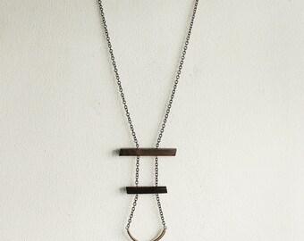 Minimalist Geometric Wood and Brass Necklace