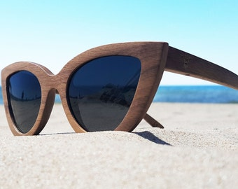 Walnut Wood Sunglasses Wooden Eyewear by WOODEER Woman glasses
