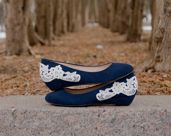 Low Navy Wedges, Navy Wedding Shoes, Bridal Heels, Low Heels, Blue Wedges, Low Wedding Shoes, Low Wedding Heels with Ivory Lace. US Size 8