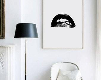lips, lips print, black and white print, fashion print, fashion illustration, pop art, pop art print, graphic design, graphic print,