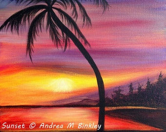 Seascape Sunset Beach Palm Tree Fine Art Poster Print