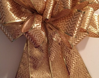 Gold Tree Topper Bow