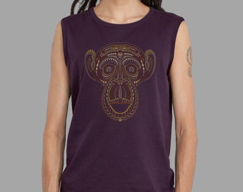 Mens Tank Top in Smokey Purple, Wise Monkey, Sacred Geometry, Screen Printed Tank Top, Yoga, Men Psychedelic Clothing, Shamanic Wear.