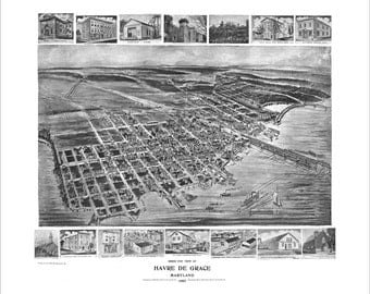 """Havre de Grace Maryland in 1907 Panoramic Bird's Eye View Map by Fowler & Kelly 19x17"""" Reproduction"""