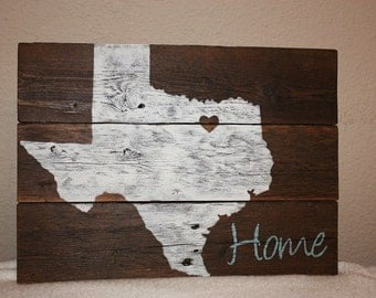 Texas sign home is where the heart is home sign texas home decor state sign housewarming gift home gift realtor gift home state new home