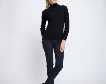MIA Black Ribbed Turtleneck Sweater