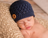 Newborn Boy Hat, Ready to Ship, Crochet Baby Hat, Baby Boy, Coming Home Hat, Baby Shower Gift, Navy Hat, Photo Prop, Newborn Beanie