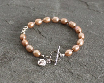 Freshwater Pearl Bracelet, Peach Pearl Bracelet, Thai Fine Silver Toggle and Charm, Beaded Bracelet, Peach Pearl Jewelry