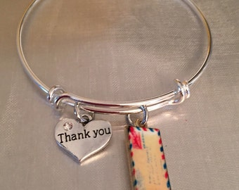 Mail carrier-post office worker- envelope and thank you charm Bracelet