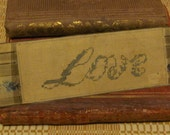 Victorian 'Love' Embroidered Punchwork Bookmark