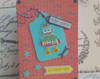 Birthday Robot handmade boys birthday card