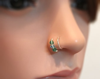 Double nose hoop, fake nose ring double, tiny hoop nose ring fake, faux nose ring, fake nose hoop, fake piercing hoop, fake nose jewelry