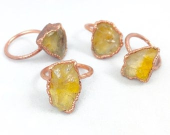Raw Untreated Citrine Ring | Made to Order | November Birthstone |  Electroformed Jewelry | Citrine and Copper Ring | Crystal Healing