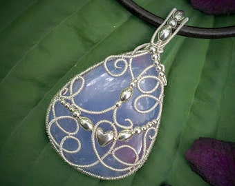 Purple chalcedony silver wire wrapped pendant