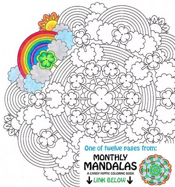 Mandala coloring page st patrick 39 s day printable march for St patrick s day rainbow coloring pages