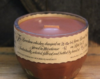 Upcycled Blanton's Bourbon Candle Recycled Bottle Essential Oil Soy Candle 750ml Recycled Glass Bottle 18oz Soy Wax Bourbon Gift