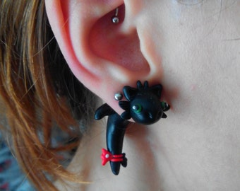 Toothless Dragon Fake gauge earring Piercing How to Train Your Dragon
