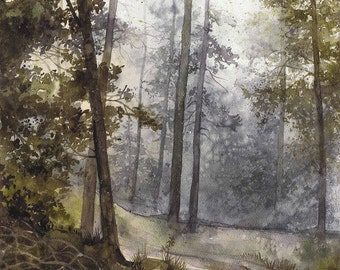 ORIGINAL watercolor forest painting by Katarzyna Kmiecik / landscape painting, watercolor trees, nature art, wet forest path, morning walk