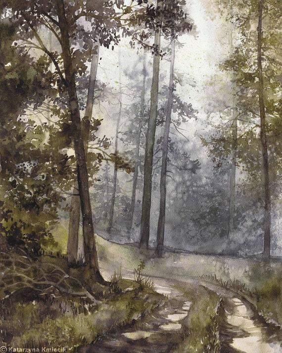 original watercolor forest painting by katarzyna kmiecik