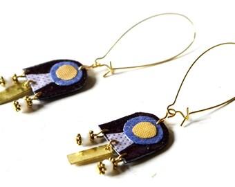 Fabric Earrings, Geometic Fabric Earrings, Ethnic Fabric Earrings, Unique Fabric earrings, Mosaic Fabric Earrings, Fabric Jewelry